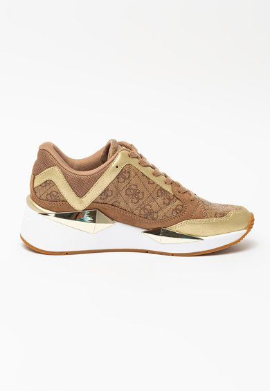Guess Pantofi sport de piele ecologica si material textil cu logo Femei