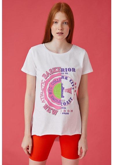 KOTON Tricou cu imprimeu si terminatie asimetrica Femei