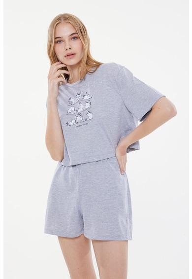 Trendyol Pijama cu pantaloni scurti si imprimeu grafic Femei