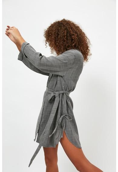 Trendyol Rochie tip camasa de plaja din amestec de in cu cordon in talie Femei