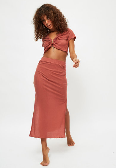 Trendyol Set de tricou crop si fusta midi Femei