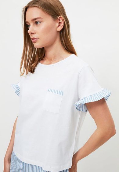 Trendyol Pijama in dungi cu maneci scurte Femei