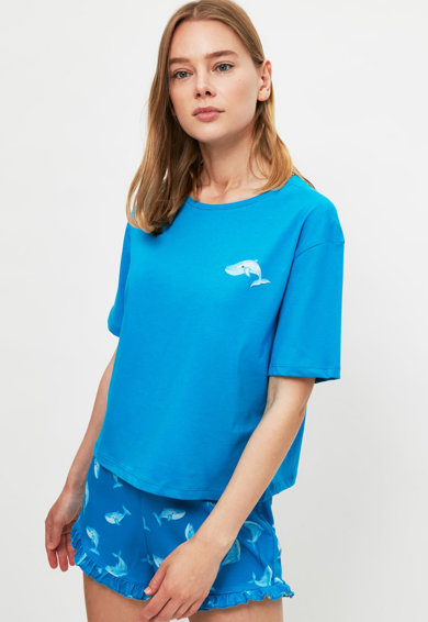 Trendyol Pijama cu pantaloni scurti si imprimeu marin Femei