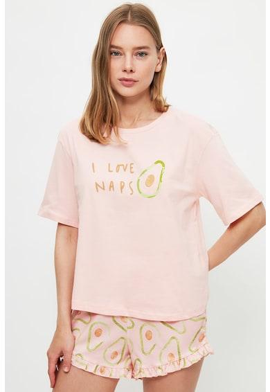 Trendyol Pijama cu pantaloni scurti cu imprimeu Femei