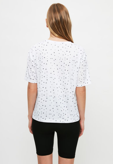 Trendyol Pijama cu pantaloni scurti cu imprimeu grafic Femei