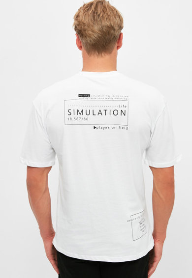 Trendyol Tricou de bumbac cu imprimeu text Barbati