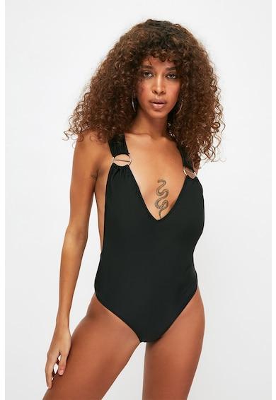 Trendyol Costum de baie intreg cu decolteu adanc in V Femei