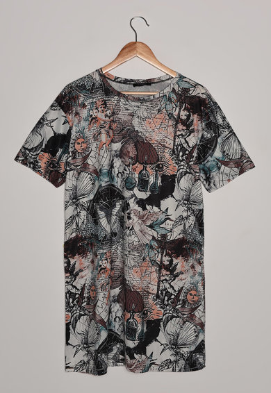 Trendyol Rochie-tricou cu imprimeu si decolteu la baza gatului Femei