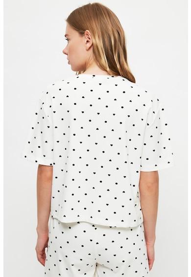 Trendyol Pijama cu maneci scurte si model cu buline si inimi Femei