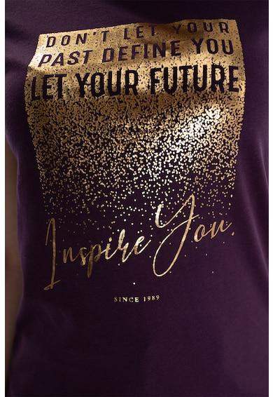 Kenvelo Tricou de jerseu cu imprimeu text metalizat Femei