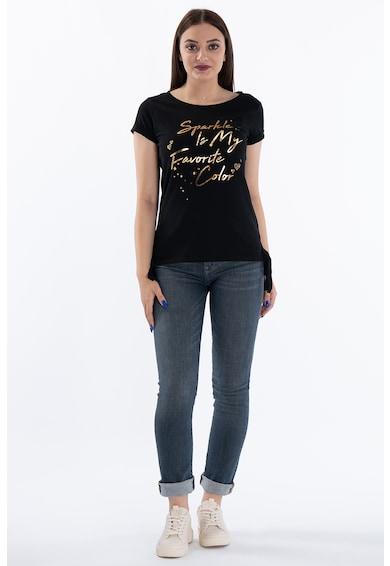 Kenvelo Tricou cu decolteu la baza gatului si imprimeu text Femei