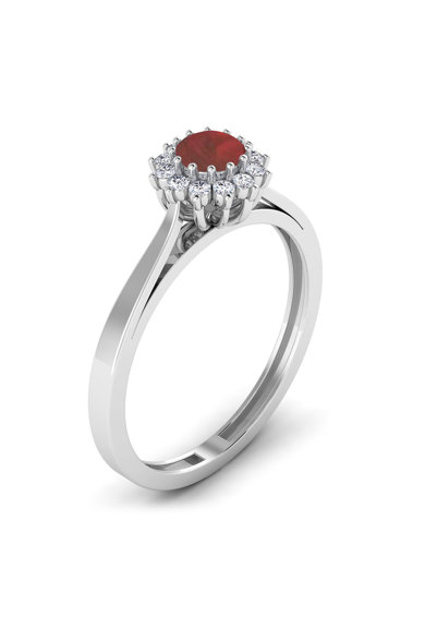 Dhamont Inel de aur de 18K cu un rubin si 12 diamante Femei