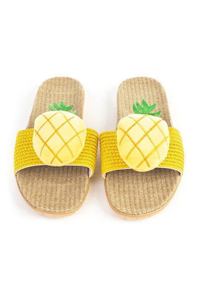 Funky Steps Papuci de casa cu varf decupat si model cu ananas Femei