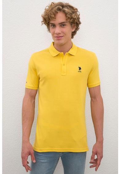 U.S. Polo Assn. Tricou polo slim fit din material pique cu broderie logo Barbati