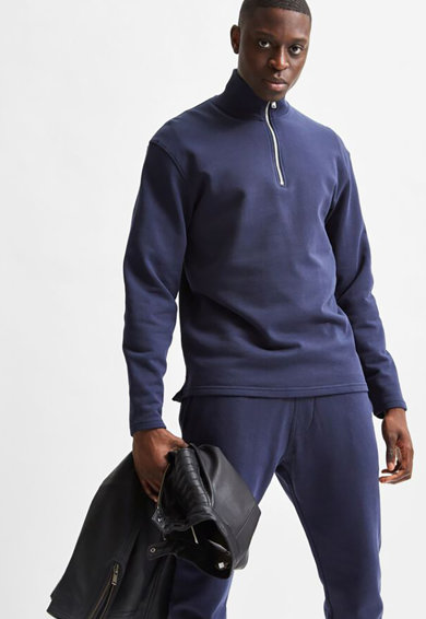 Selected Homme Bluza sport cu maneci cazute si fenta cu fermoar Barbati