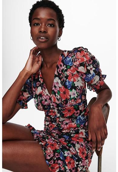 Only Rochie cambrata cu decolteu in V si model floral Femei