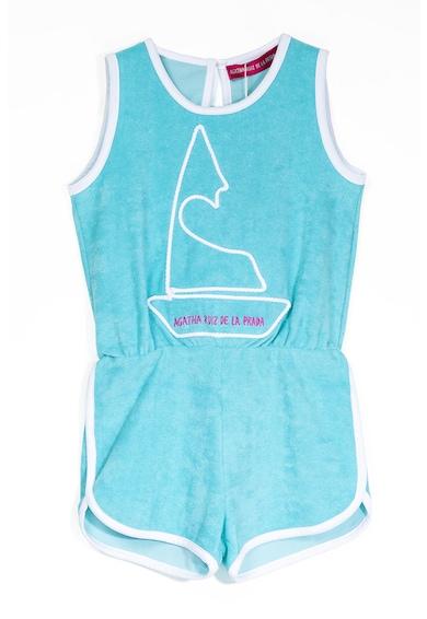 Agatha Ruiz de la Prada Salopeta scurta de catifea cu imprimeu logo, Albastru aqua, Fete