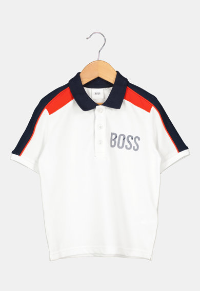 BOSS Galléros póló és rövidnadrág szett logómintával Fiú