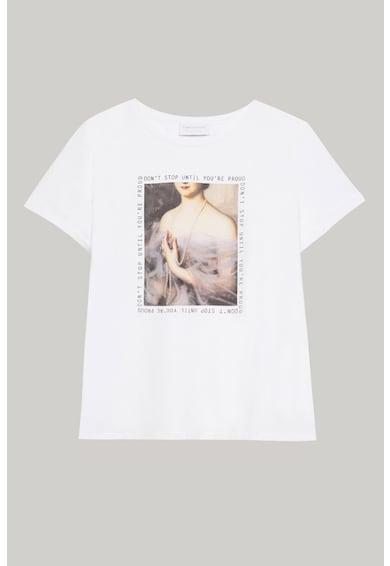 Fiorella Rubino Tricou cu decolteu la baza gatului si imprimeu foto Femei