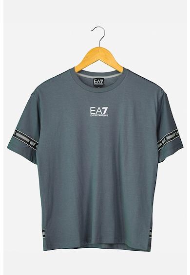 EA7 Tricou din bumbac cu benzi logo contrastante Baieti