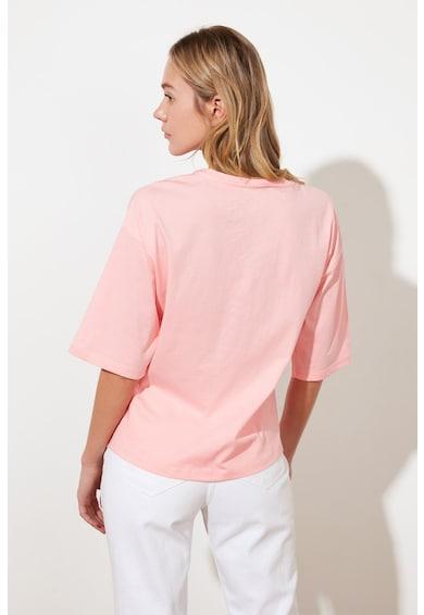 Trendyol Памучна тениска с навити подгъви Жени