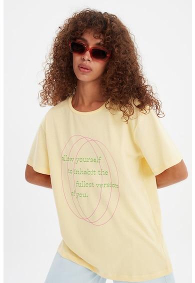 Trendyol Памучна тениска с фигурална щампа Жени