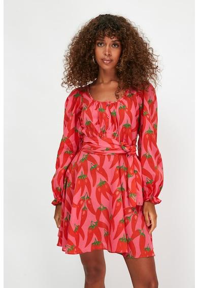 Trendyol Разкроена десенирана рокля с връзка Жени