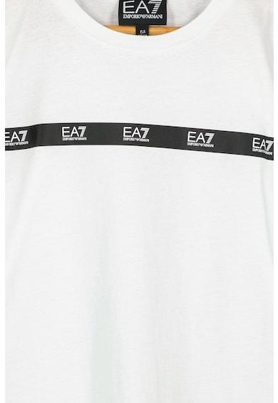 EA7 Tricou cu decolteu la baza gatului si aplicatie logo cu paiete Baieti