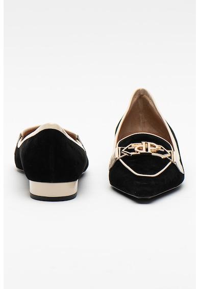 Pollini Pantofi loafer din piele intoarsa cu aplicatie logo Femei