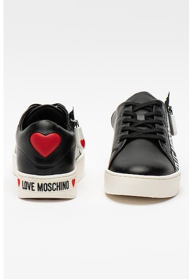 Love Moschino Pantofi sport din piele cu fermoar decorativ Femei