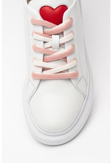 Love Moschino Pantofi sport din piele cu model in doua tonuri Femei