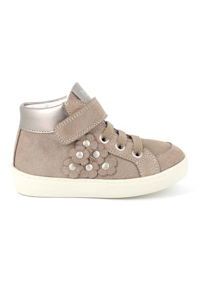 Primigi Pantofi sport de piele intoarsa cu aplicatii florale Fete