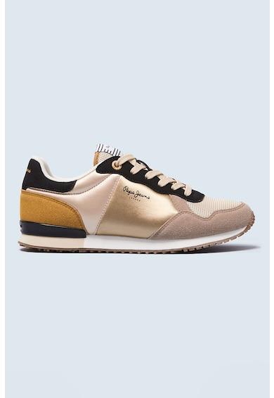 Pepe Jeans London Pantofi sport din piele ecologica si material textil Archie Femei