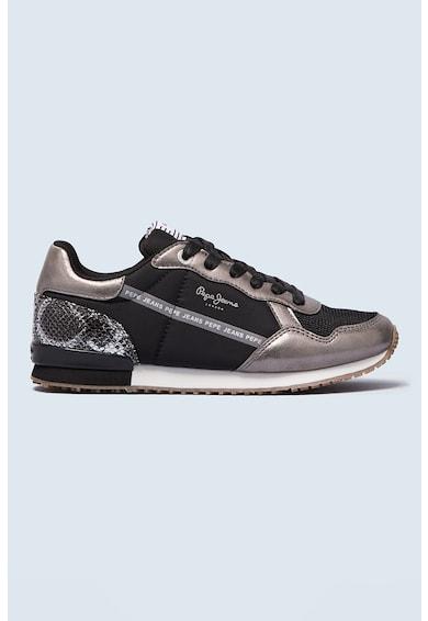 Pepe Jeans London Pantofi sport din piele ecologica si material textil cu insertii cu model piele de reptila Archie Femei