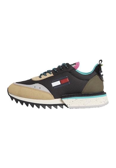 Tommy Jeans Pantofi sport cu talpa striata si insertii de piele intoarsa ecologica Femei