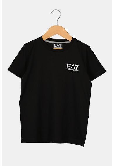 EA7 Tricou din jerseu cu decolteu la baza gatului si imprimeu logo Baieti