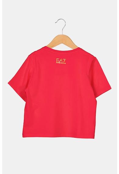 EA7 Tricou din jerseu cu imprimeu logo metalizat Fete