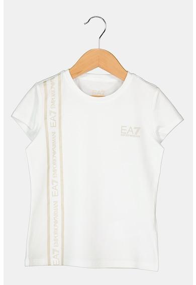 EA7 Tricou cu decolteu la baza gatului si banda logo stralucitoare Fete