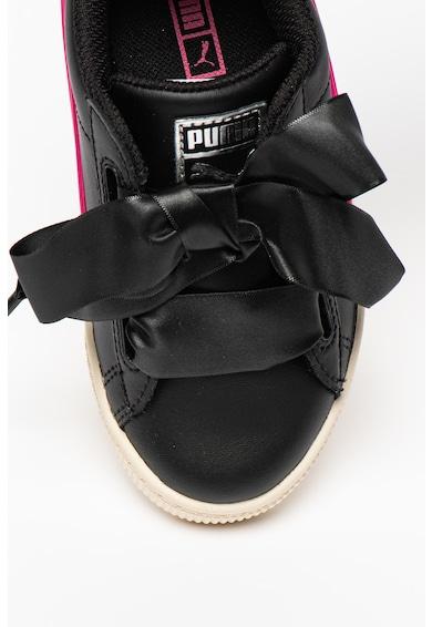 Puma Basket Heart bőrsneaker kontrasztos szegélyekkel Lány