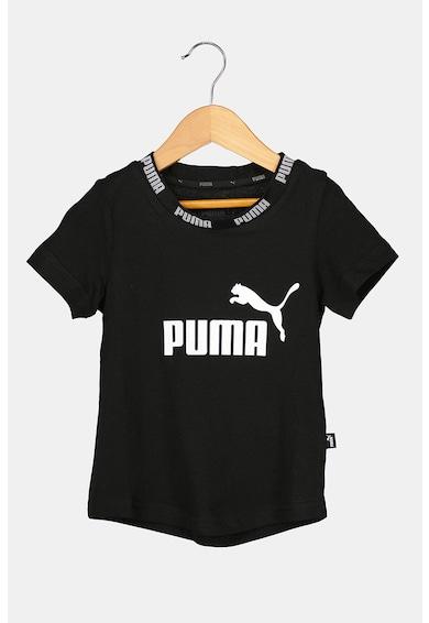 Puma Tricou cu decolteu la baza gatului si imprimeu logo Amplified Fete