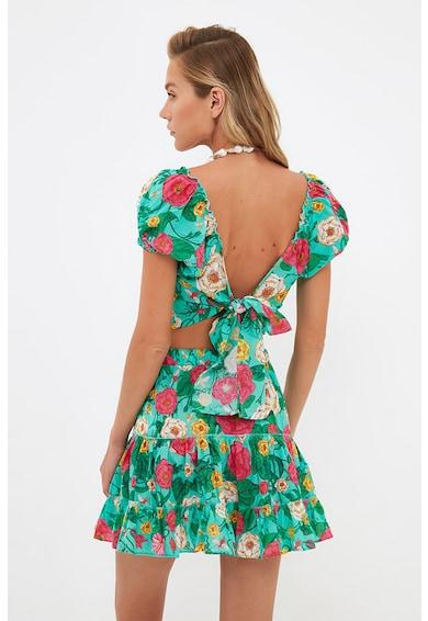 Trendyol Set de bluza crop cu imprimeu floral si fusta evazata Femei