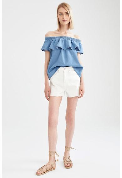 DeFacto Bluza din material chambray cu decolteu pe umeri Femei