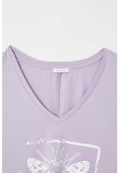 DeFacto Tricou cu decolteu in V si imprimeu Femei