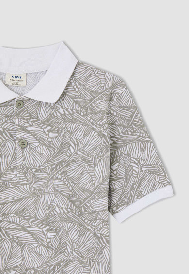DeFacto Tricou polo din bumbac cu imprimeu Baieti