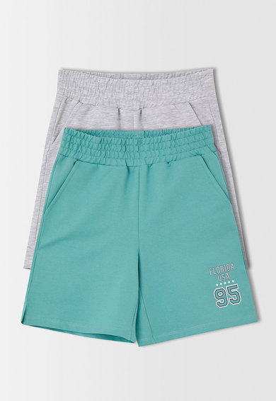 DeFacto Set de pantaloni scurti 2 perechi din amestec de bumbac Gri deschis melange/verde menta Fete
