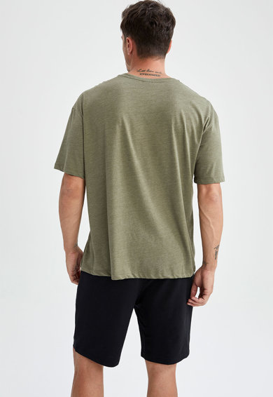 DeFacto Set de tricouri cu croiala lejera si maneci cazute - 3 piese Barbati