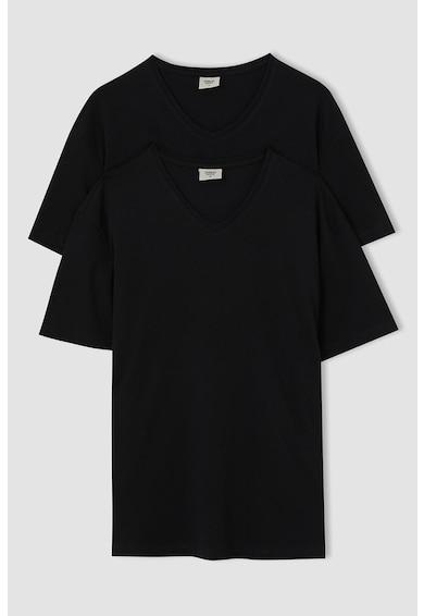 DeFacto Set de tricouri regular fit cu decolteu in V - 2 piese Barbati