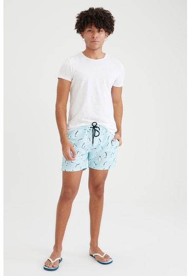 DeFacto Pantaloni scurti de baie cu imprimeu si snur de ajustare in talie Barbati