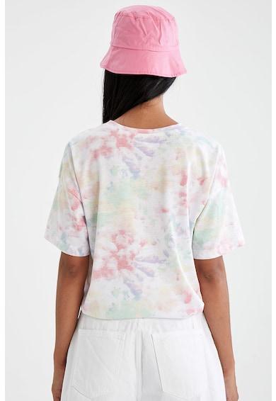 DeFacto Tricou cu model tie-dye si imprimeu text Femei