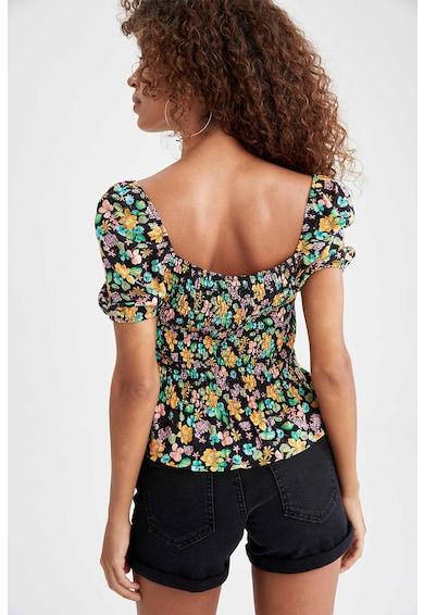 DeFacto Bluza cu fronseuri si model floral Femei